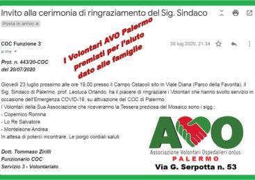 Invito Alla Cerimonia di Ringraziamento del Sig. Sindaco di Palermo Leoluca Orlando